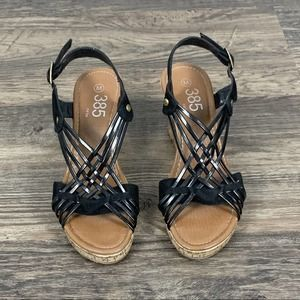 385 Fifth black strappy cork wedge sandals
